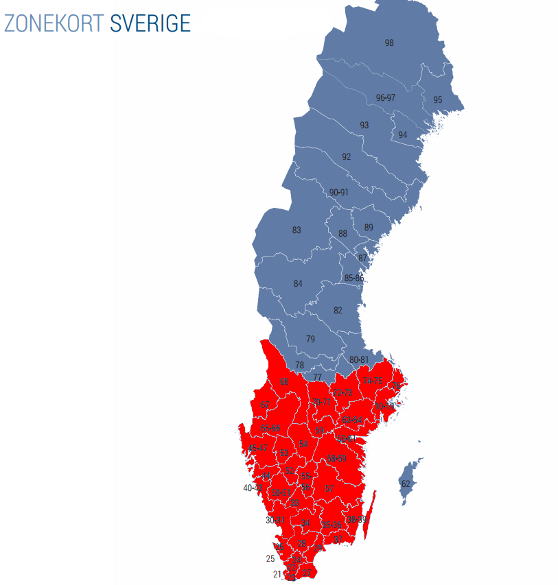 Zonekort over Sverige
